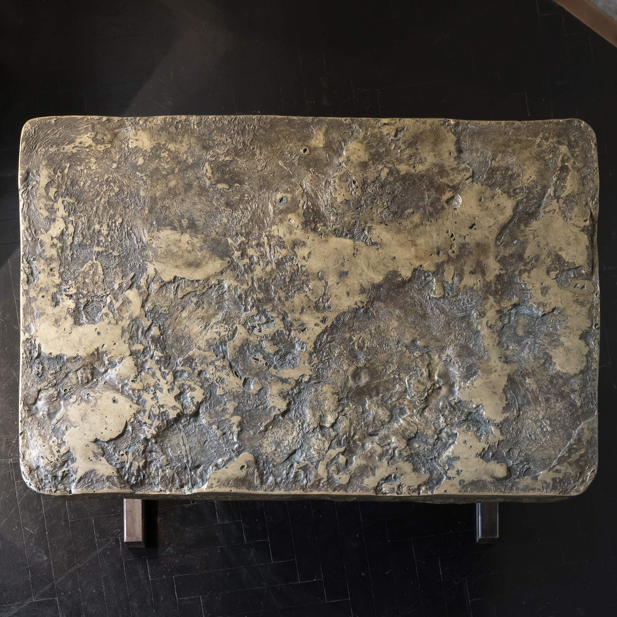 1960s Italian Brutalist Fusion/Brass Rectangular Coffee Table