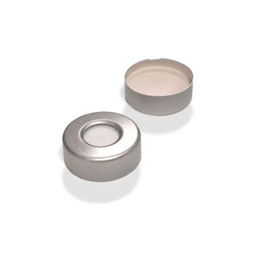 7001-7018 ND20 Aluminum Crimp Cap (10mm hole) with Silicone/PTFE Septa , pk.100