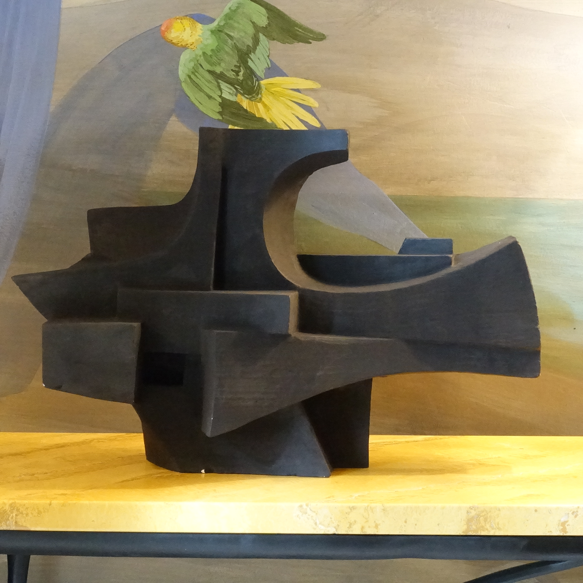 1960s French Black Plaster Futurist Sculpture