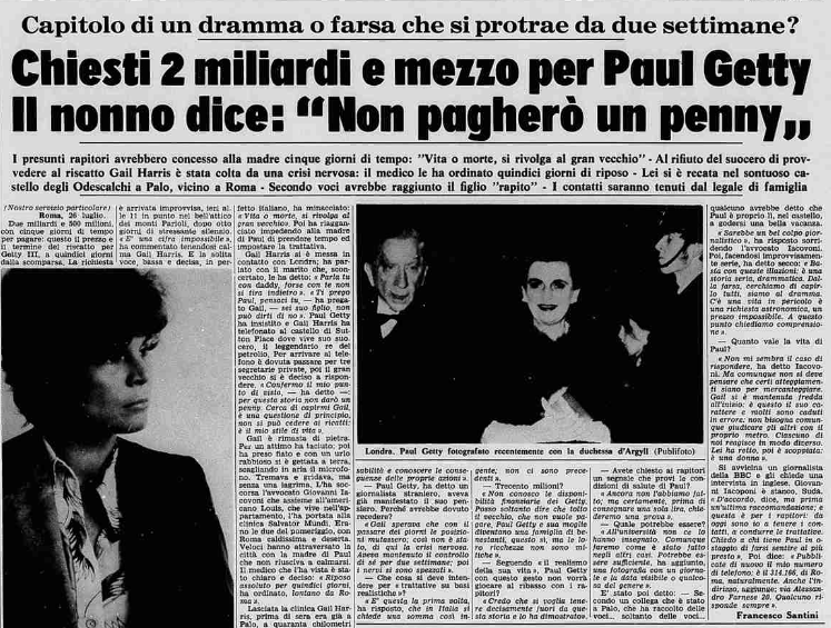La triste storia di Paul Getty, sequestrato dalla 'ndrangheta nel 1973
