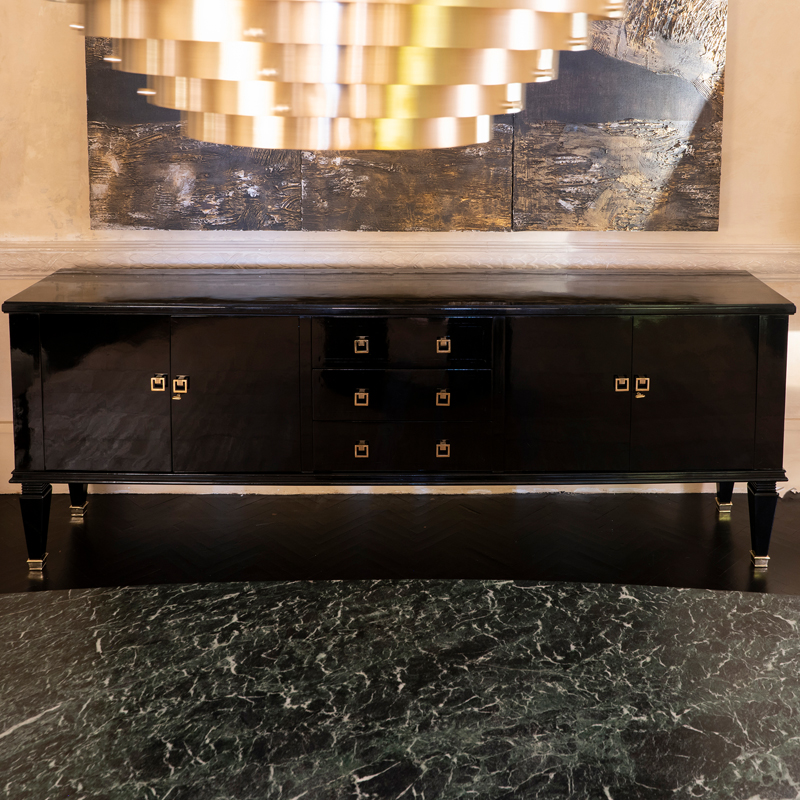 1940s French Black Lacquered Sideboard