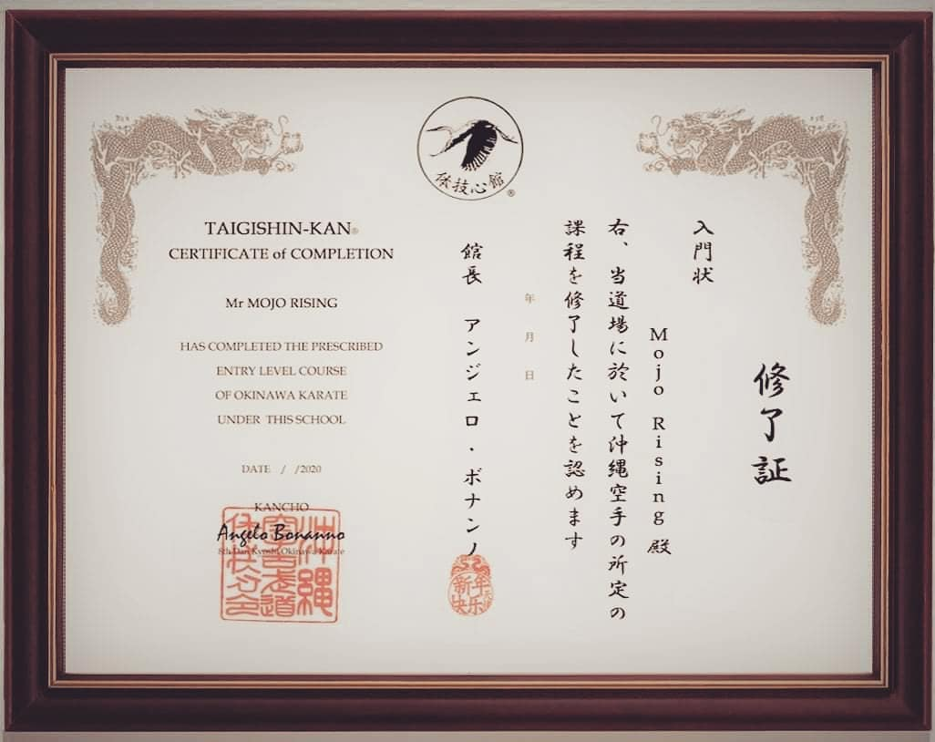 Certificate of Completion in Okinawa Karate