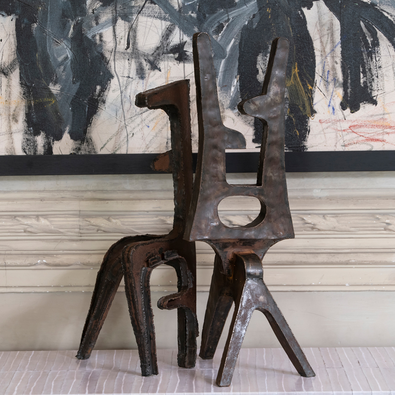 Pair of 1970s French Brutalist Steel Abstract Sculptures