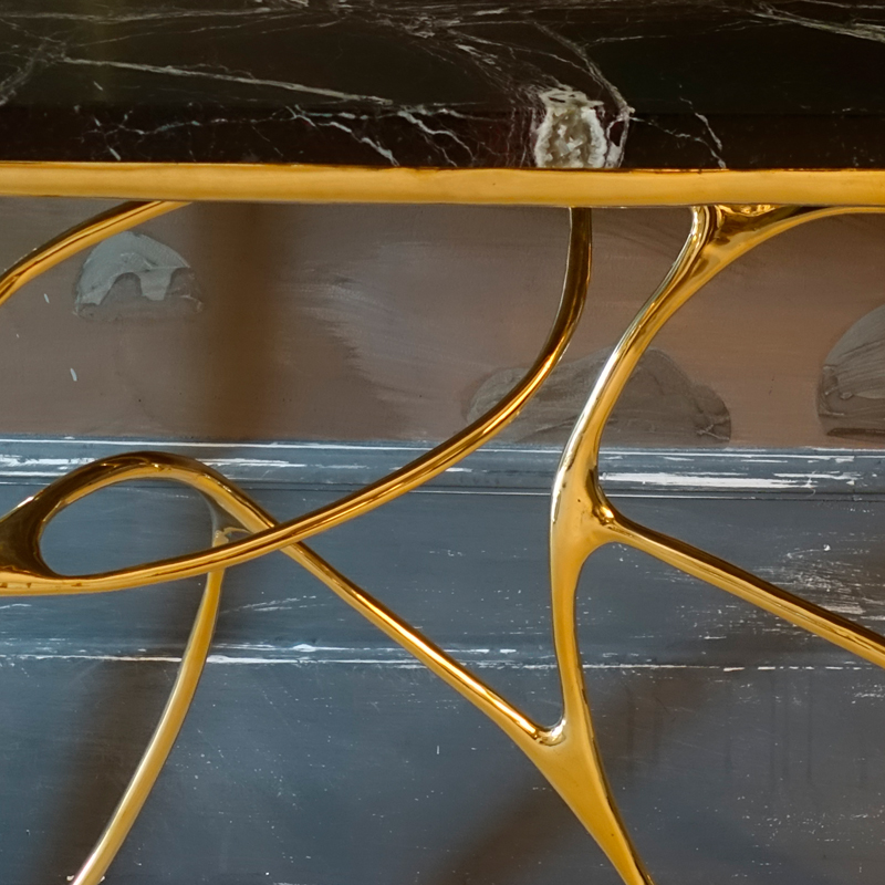 Contemporary Sculptural Brass Console, Red Levanto Marble Top