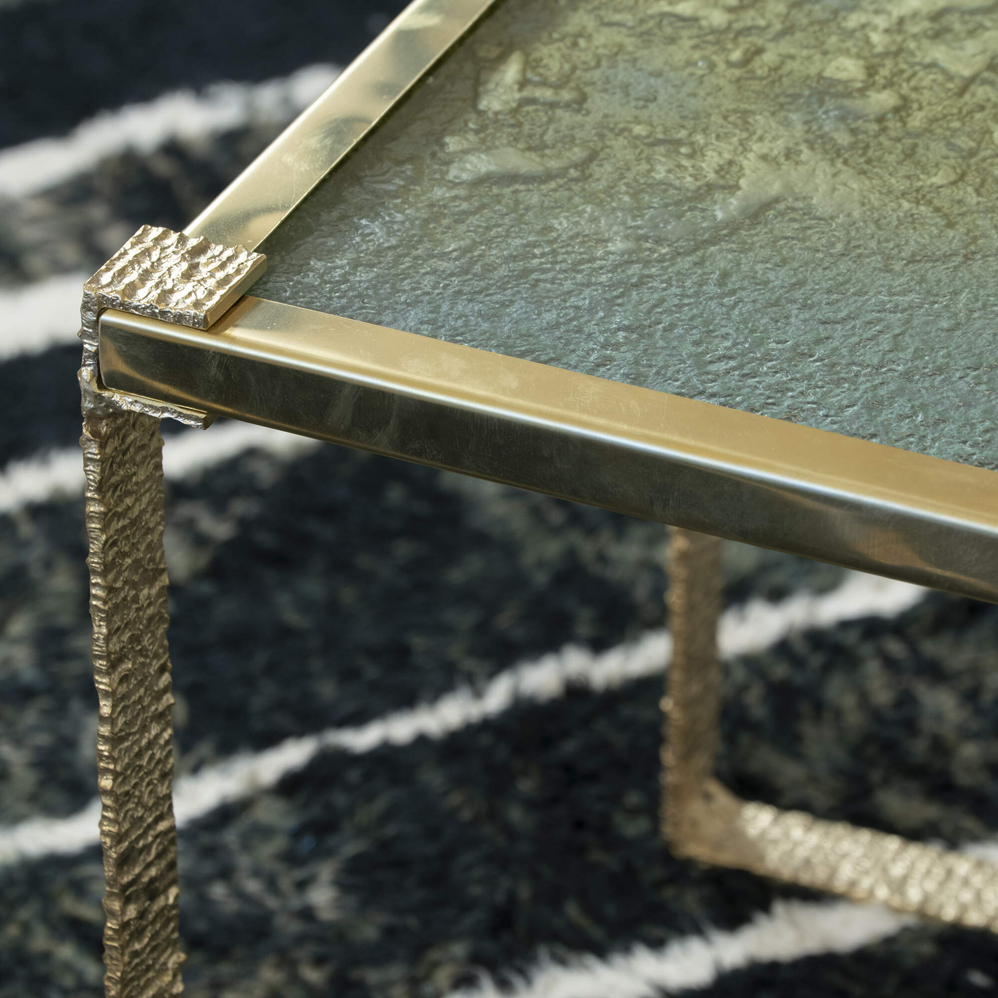 Flair Edition Contemporary Side Table with Art Glass Top