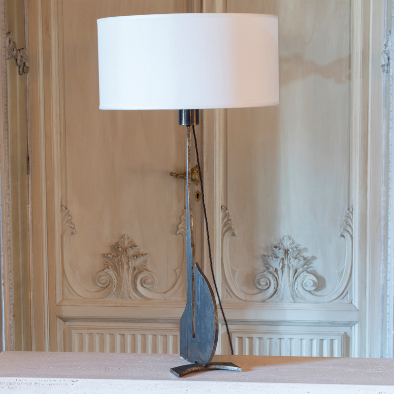 1970s Brutalist Raw Steel Tall Table Lamp, France
