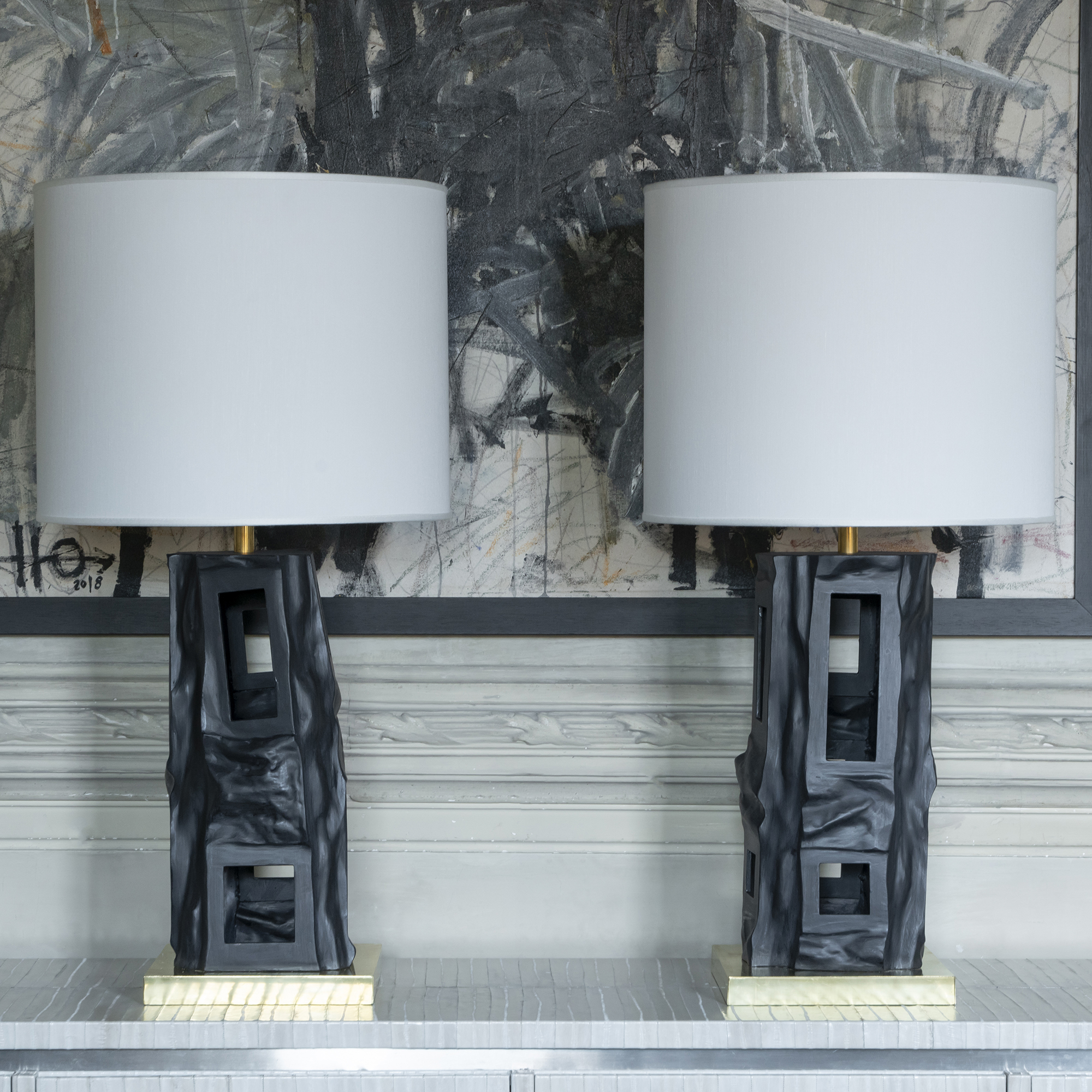 1980s Pair of Italian Sculptural Black Steel Table Lamps