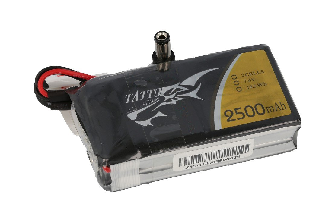 Tattu 2500mAh 2S 7.4Vlipo battery pack with DC5.5mm plug for Skyzone, Fatshark Goggles