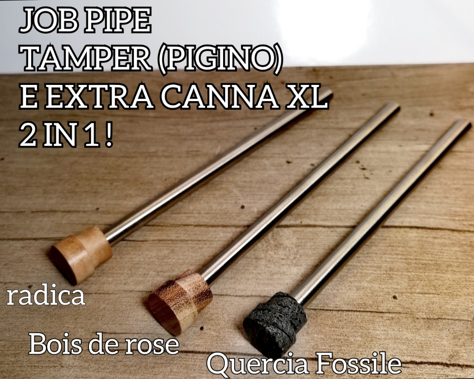 Job Pipe Pigino e Canna XL Inox 2 in Uno ( Tamper premi tabacco)