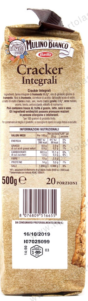 "Mulino Bianco: Whole Wheat Italian Crackers - 17.63 oz. ""Imported from Italy"""
