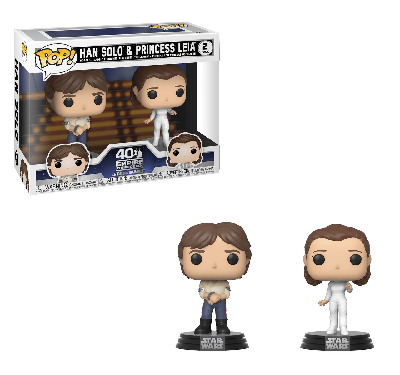 FUNKO POP HAN SOLO & PRINCESS LEIA 2 PACK STAR WARS HARRISON FORD CARRIE FISHER