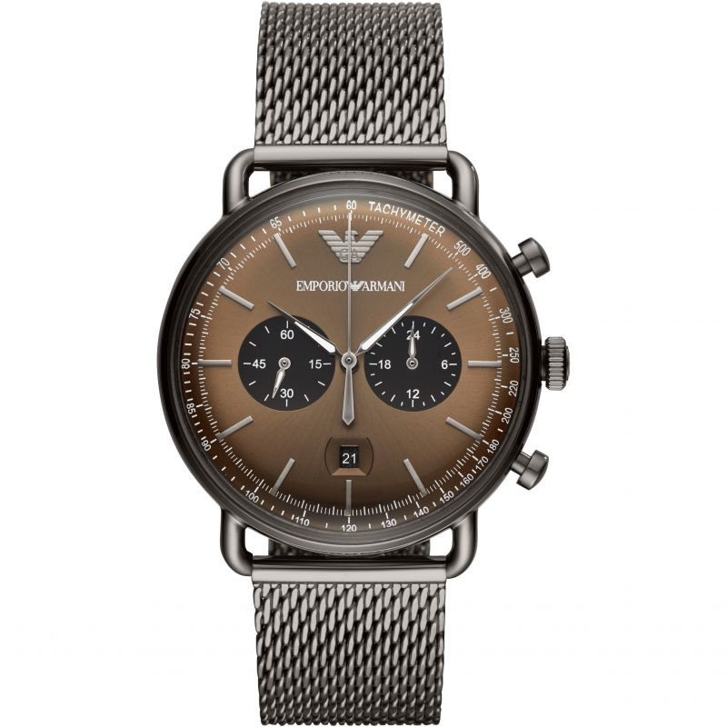 Armani Watches  Gunmetal Mesh Men's Chronograph Watch AR11141