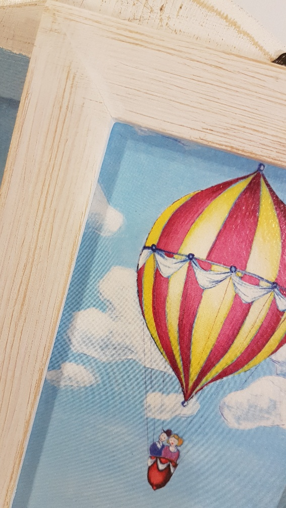 La mongolfiere di Teodolindo con cornice, hot air balloon with frame