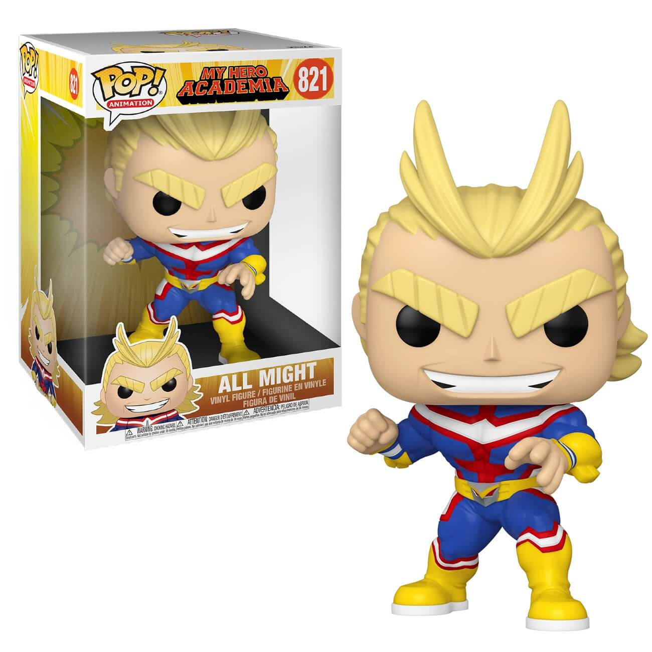 "FUNKO POP ALL MIGHT #821 10"" MY HERO ACADEMIA ANIMATION"