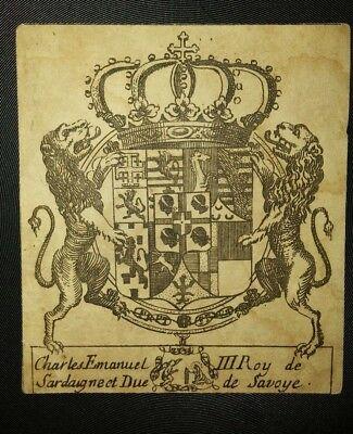 Antico-Ex-Libris-Araldica-Savoia-Cemanuele-Iii-Rejpg