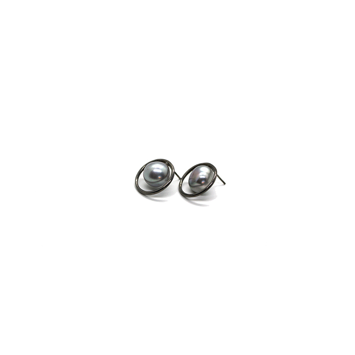 LIAISON EARRINGS - GREY PEARL