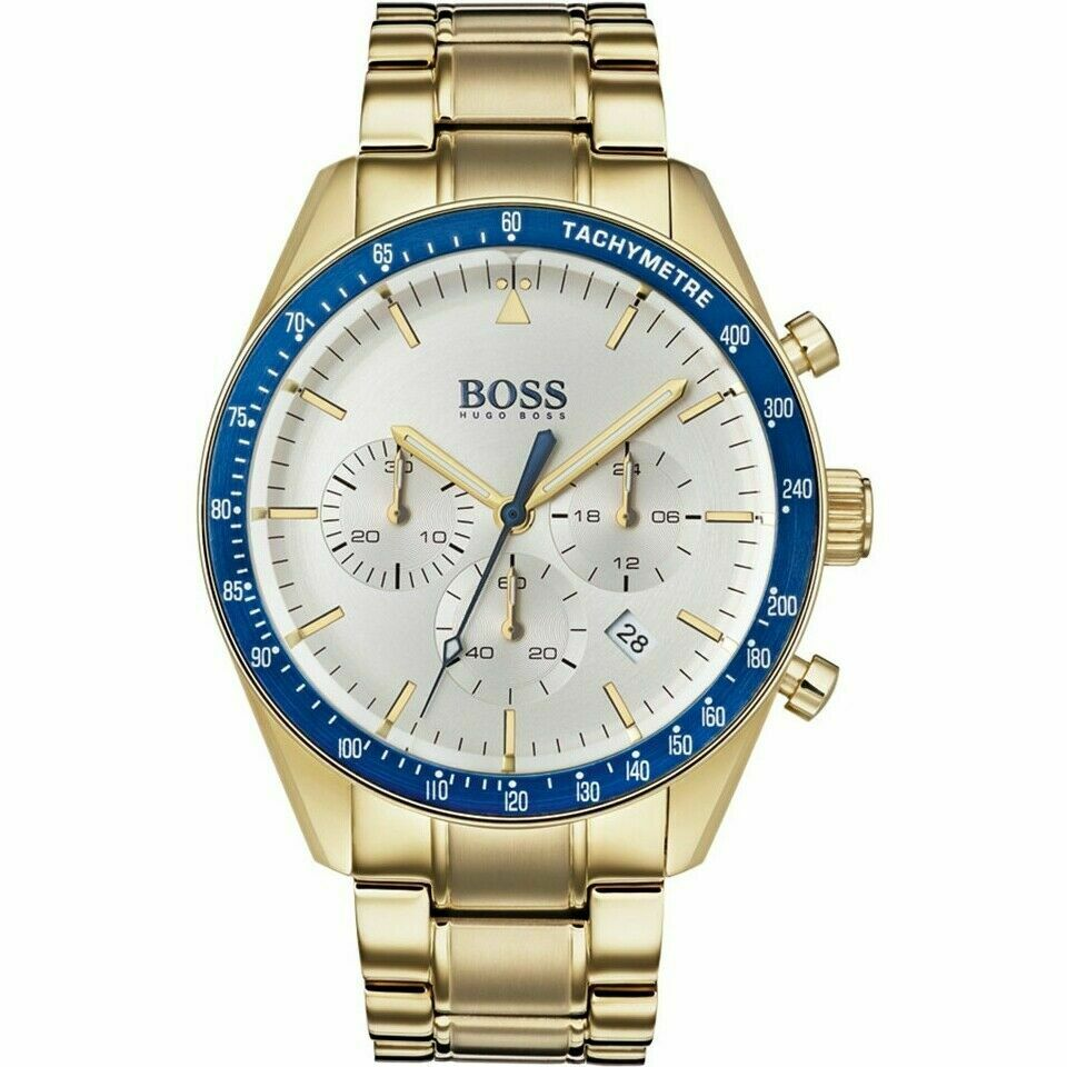 Hugo Boss Men's Trophy Gold/Blue Stainless Steel Chronograph Watch HB1513631