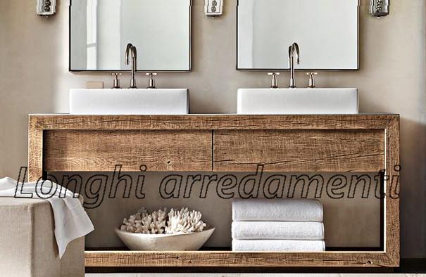 Mobili da bagno in legno massello su misura con essenze - Mobile bagno legno grezzo ...