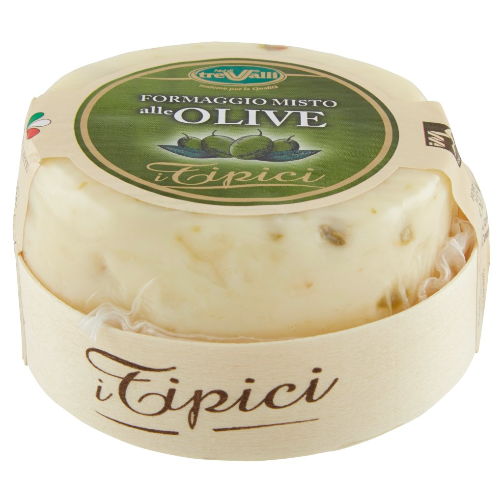 "Cheese: ""I TIPICI"" WITH OLIVES 180gr (6.34oz)""Imported from Italy"""