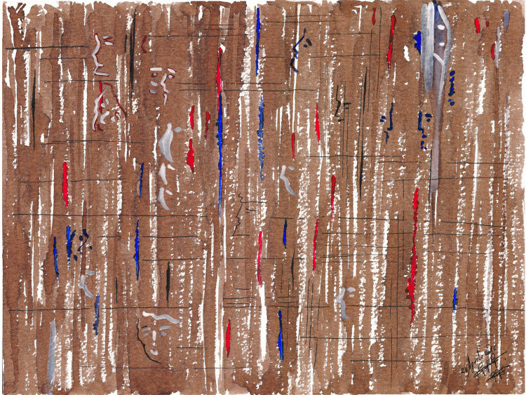 Figure vaganti - 2016 - watercolor, stain and ink on cardboard -- cms. 21x30 - Quotation € 550