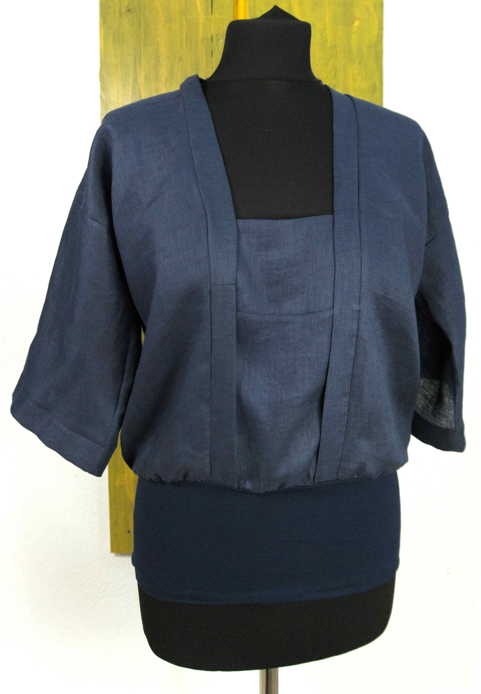 linen blouse with elastic waist