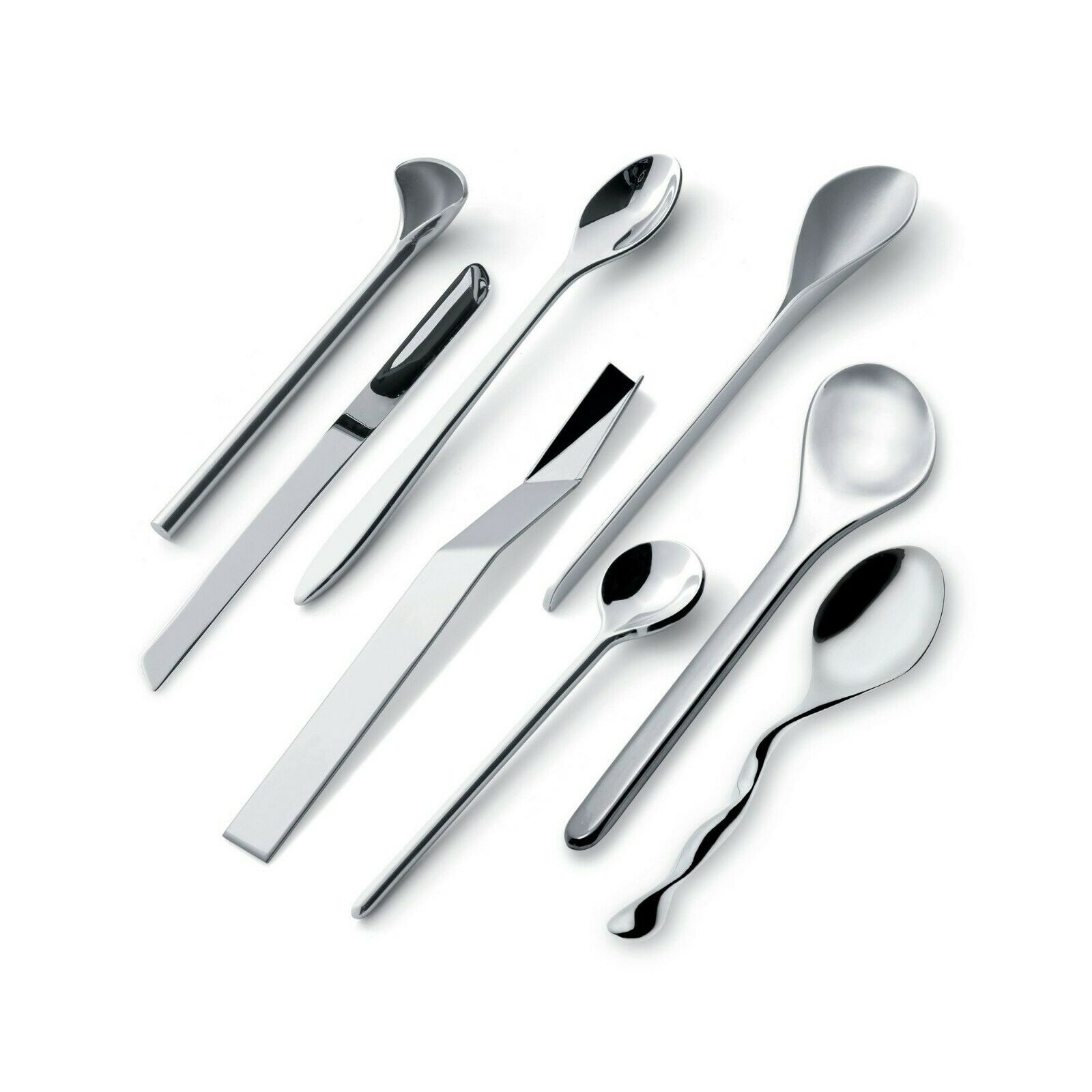 Officina Alessi Assorted Coffee Spoons, Set of 8 inox