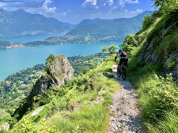 MTB Lake Como Bellagio Tremezzo Menaggio trail view over the lake and Griante