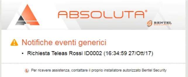 Richiesta di assistenza tramite tastiera LCD Bentel Absolutapng