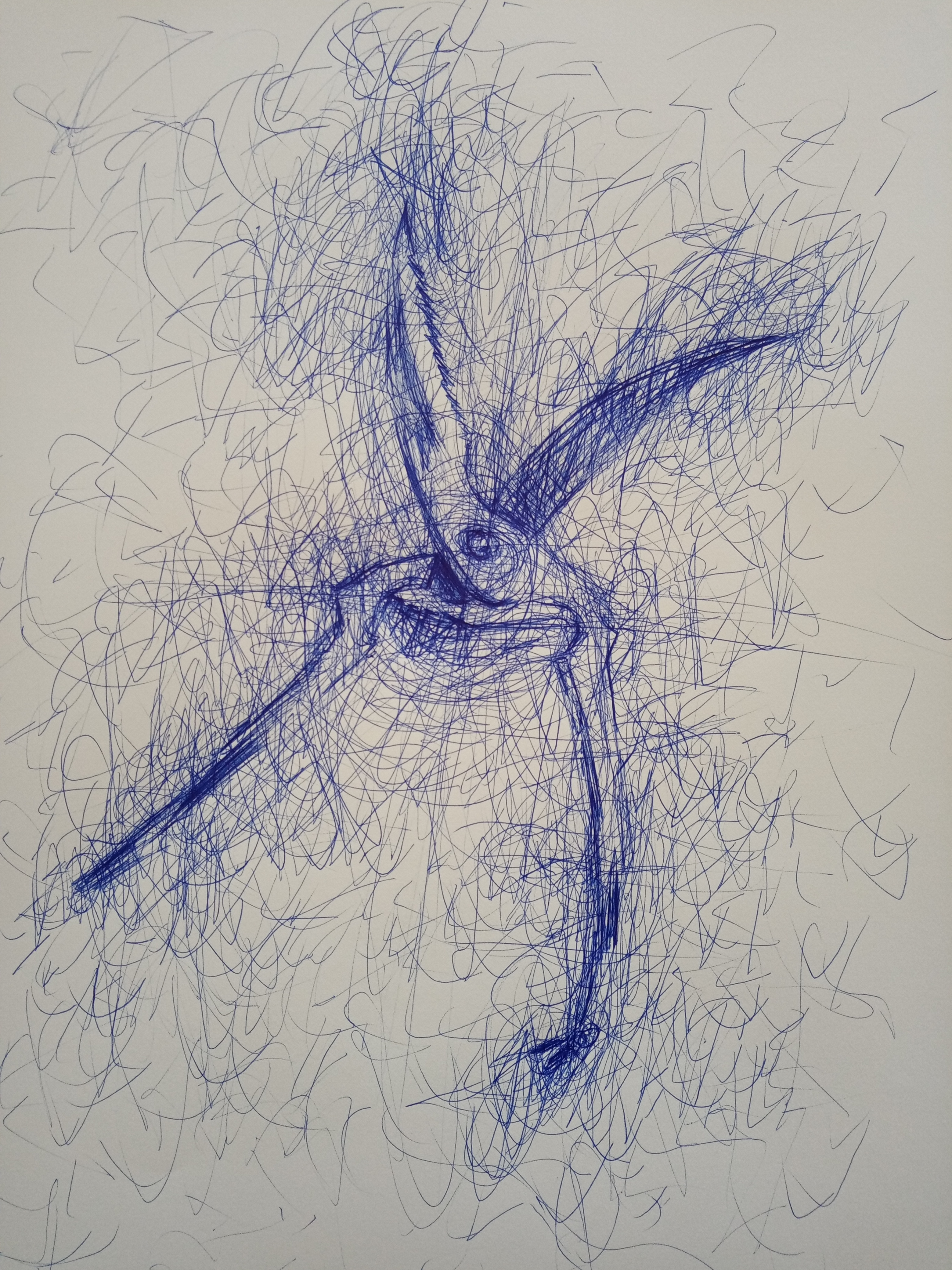CONFINED TOOL 208 2020 Antonio Riello A3 size Blue BIC ball pen on paperjpg