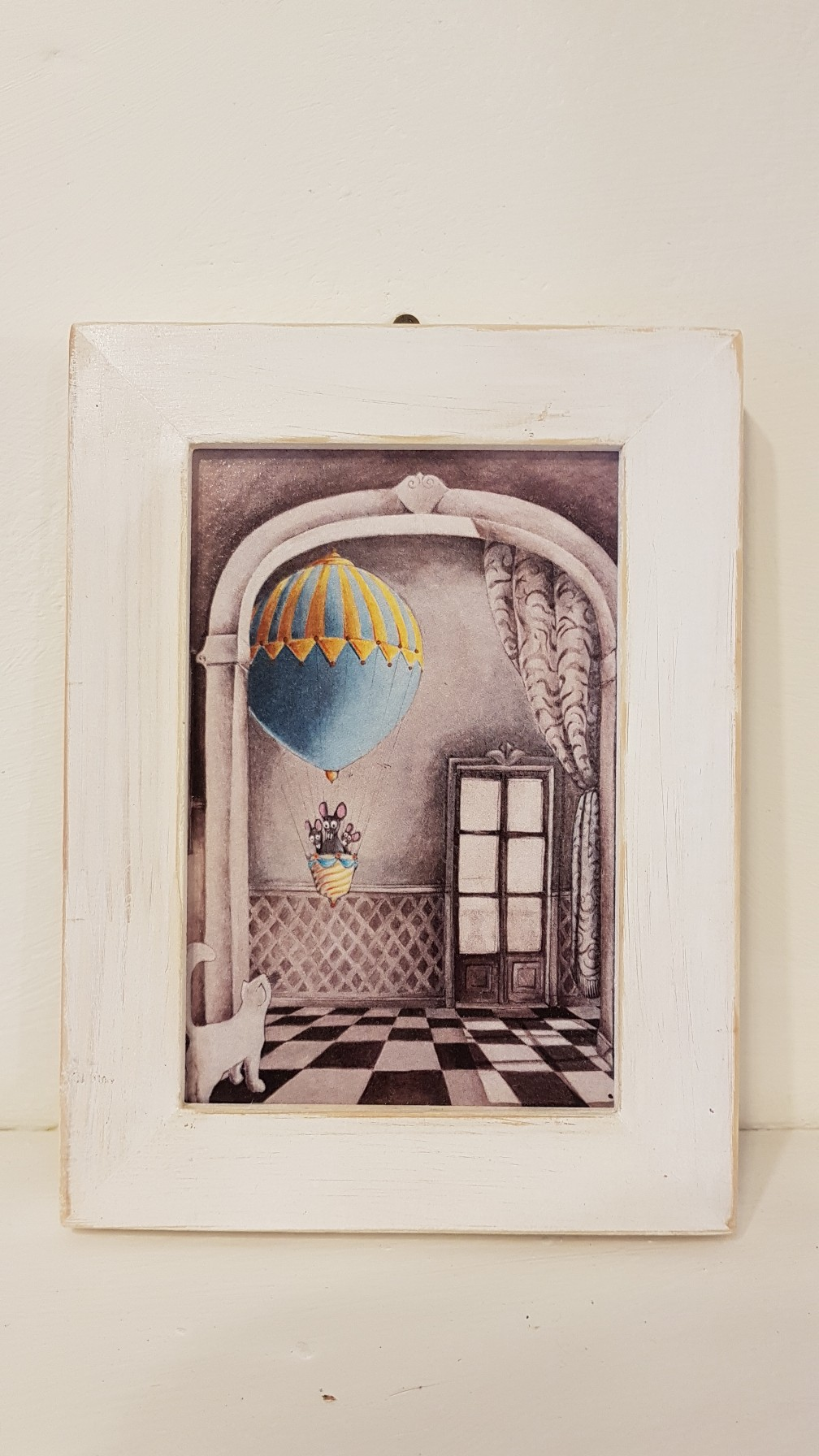 Topi in volo con cornice, Hot air balloon mice with frame