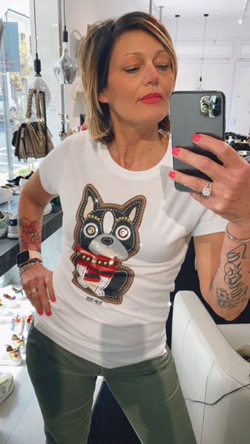 T-SHIRT BIANCA DOG TOP TEE