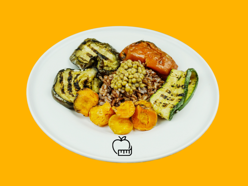 Red rice bowl with turmeric