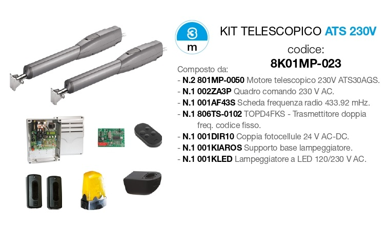 CAME KIT 8K01MP-023 TELESCOPICO ATS 230V Cancello Battente