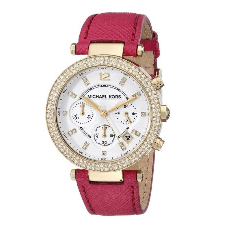 Parkers Chronograph White Dial Pink Leather Ladies Watch MK2297