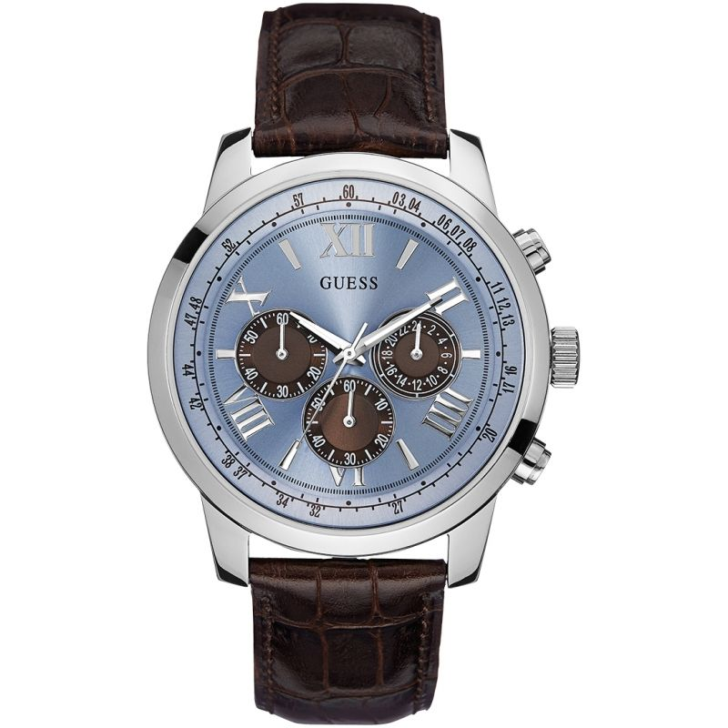GUESS Men's brown crocodile leather strap watch with a blue dial.