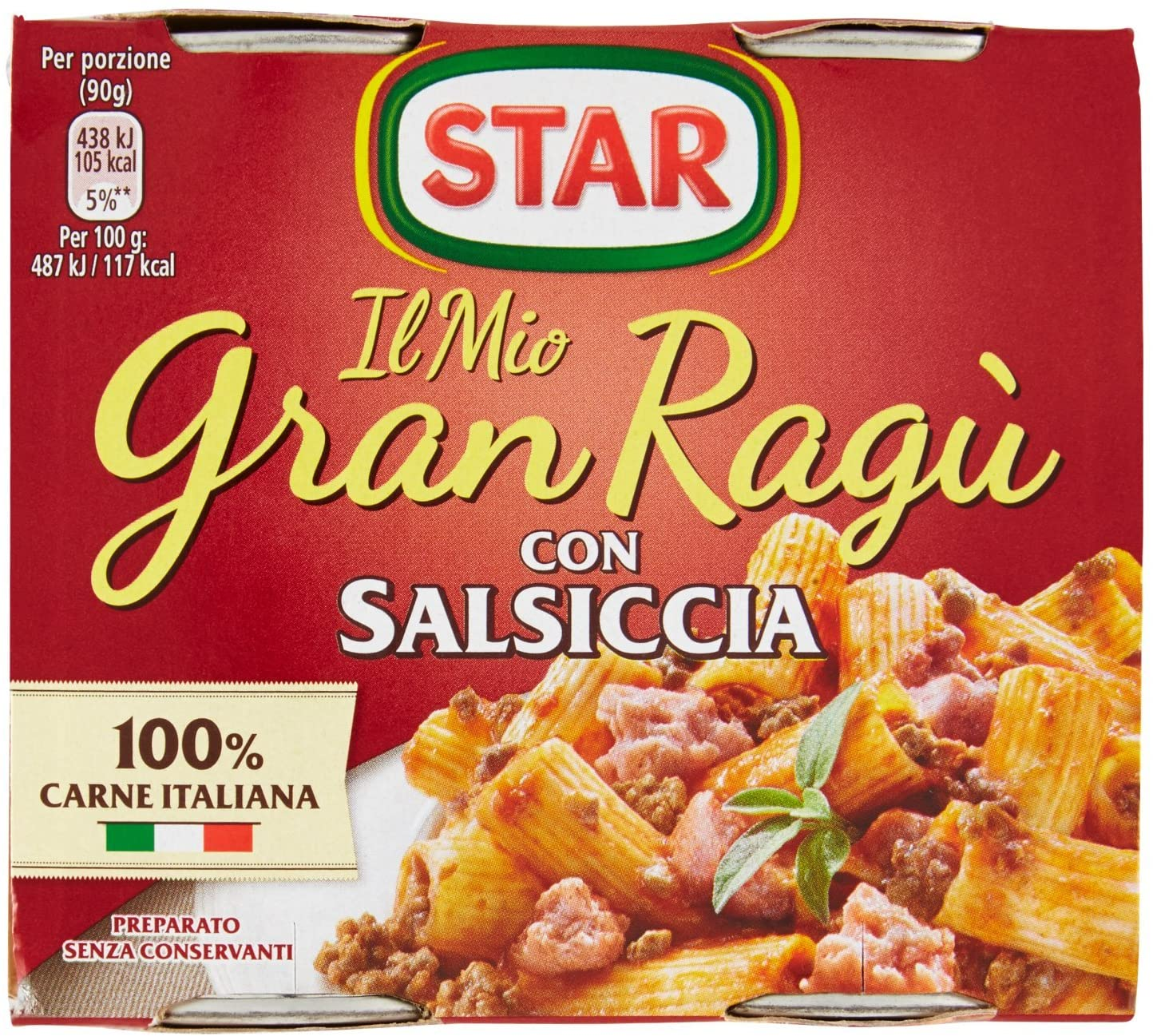 "Star Ragu`with Italian sausage 2x180gr (12.69oz) ""Imported from Italy"""