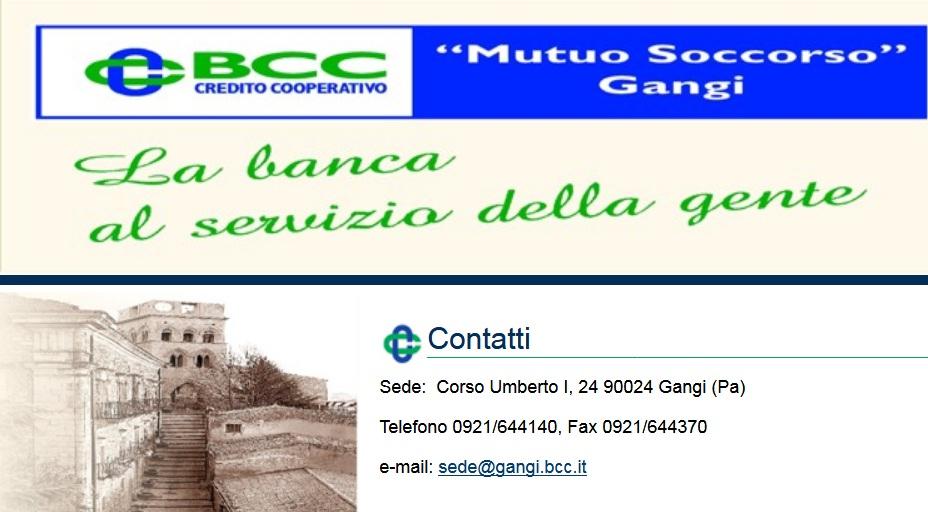 BCC GANGI Sede - Corso Umberto I 24 90024 Gangi Pa