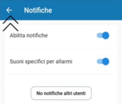 Abilitare disabilitare le notifiche app Bentel Security Absolutapng