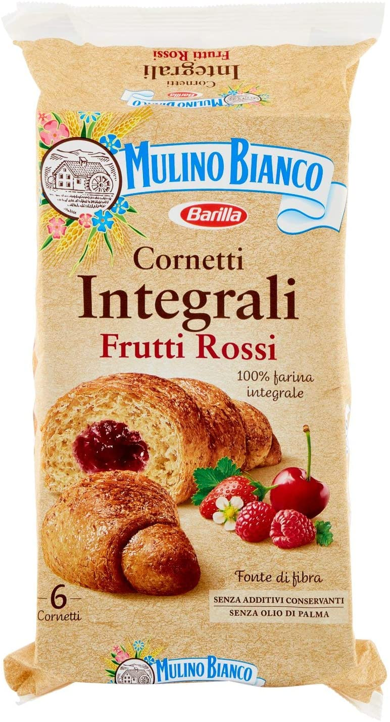Whole Wheat Italian croissants with red berries by Mulino Bianco - 10.50 oz.