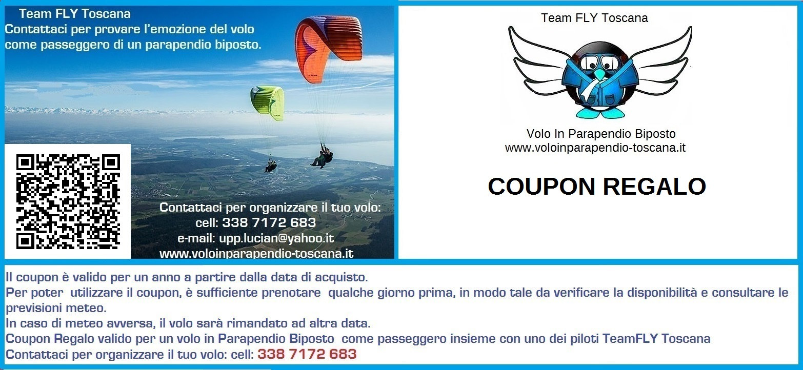 Coupon Regalo Volo in Parapendio
