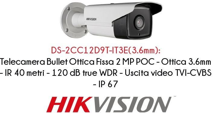 HIKVISION TELECAMERA BULLET 2MP POC DS-2CC12D9T-IT3E