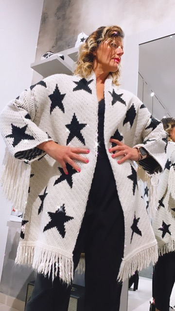 -50% Cardigan bianco con frange e stelle KING KONG FASHION