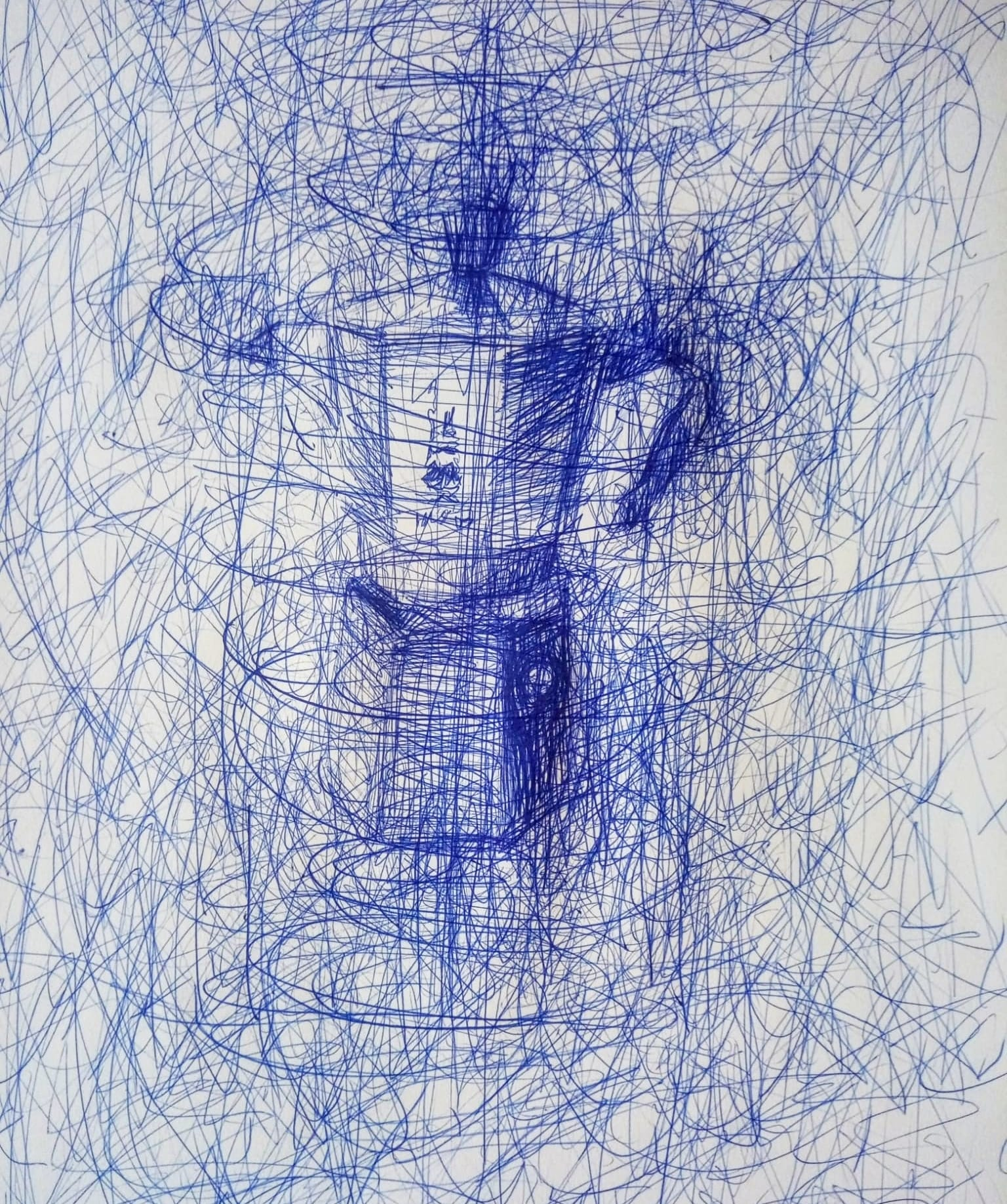CONFINED TOOL 2020 Antonio Riello A3 size Blue BIC ball pen inkjpg