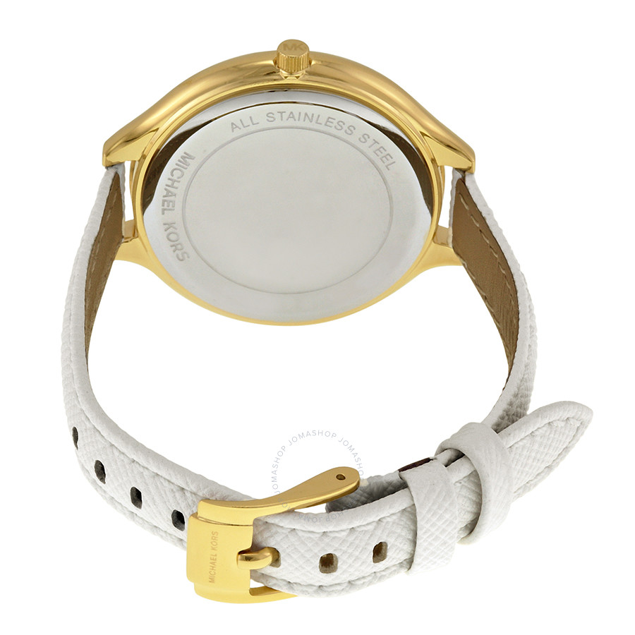 Slim Runway Champagne Dial White Leather Ladies Watch MK2389