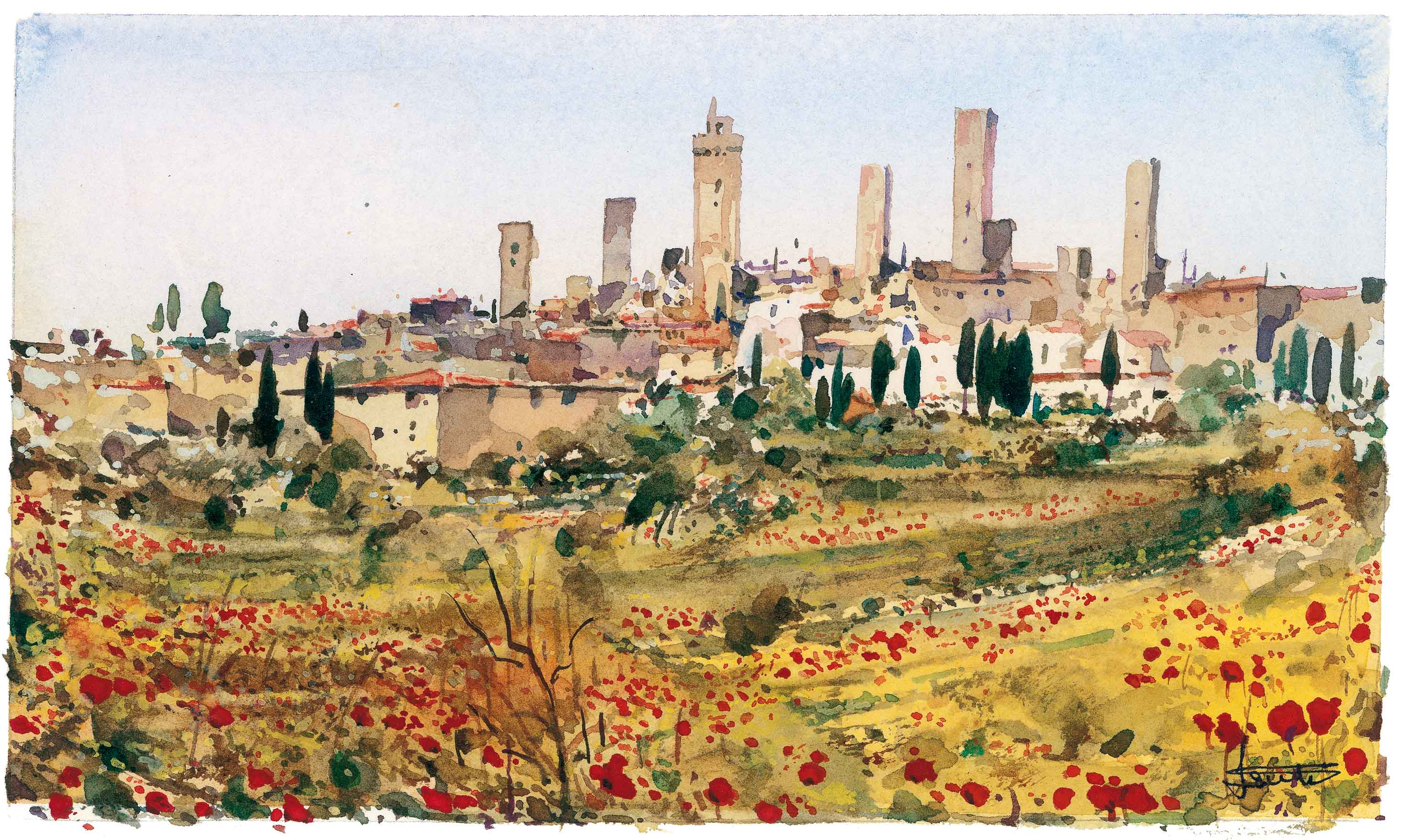 Sangimignano con papaveri - San Gimignano with poppies