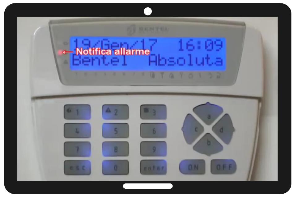 Reset Allarme Tastiera LCD Bentel Absolutapng