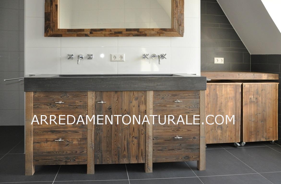 mobili da bagno in legno massello su misura con essenze ...