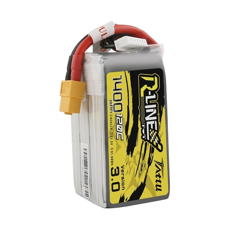 Tattu R-Line Version 3.0 1400mAh 22.2V 120C 6S1P Lipo Battery Pack with XT60 Plug I