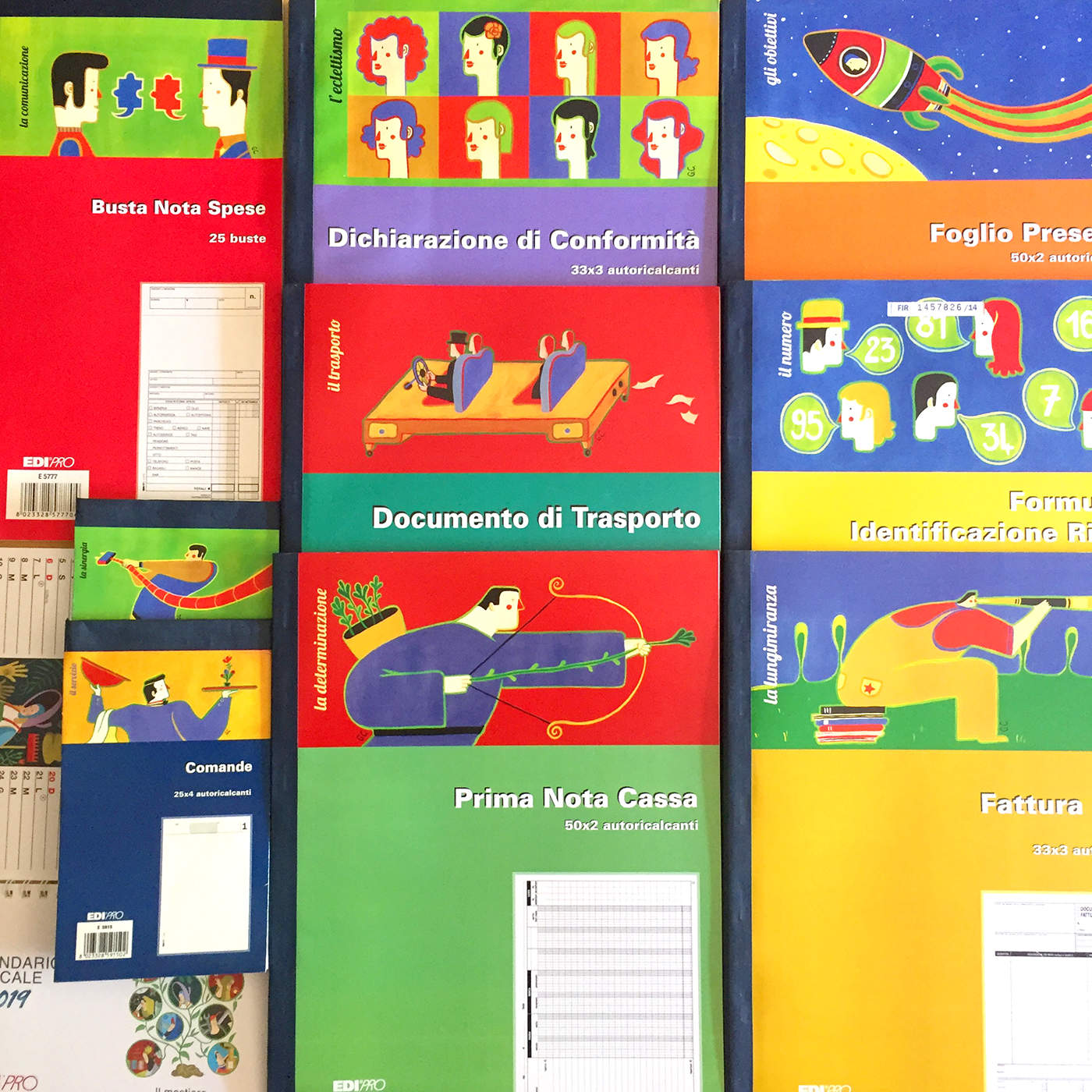 Covers for Edipro S.r.l., a company specialized in manuals, textbooks, registers and stationery.