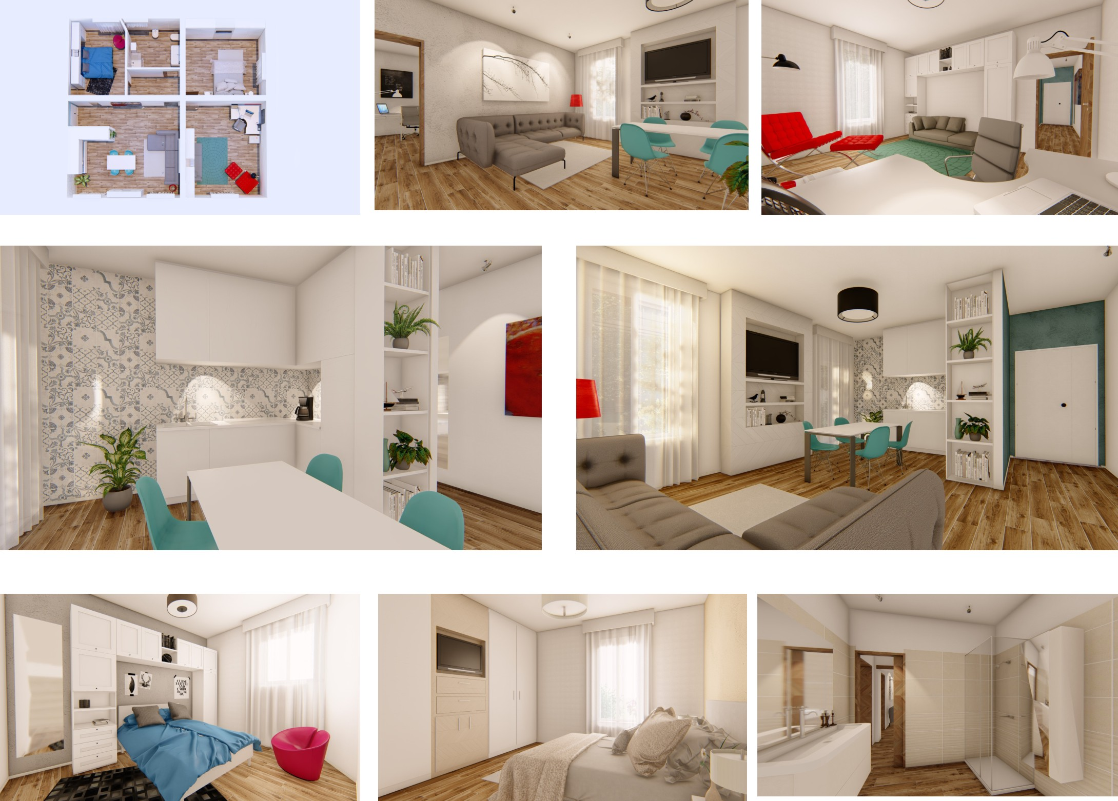 Collage di scatti In 3D Virtual Staging Italia